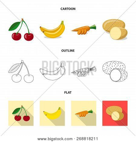 Vector Illustration Of Vegetable And Fruit Sign. Set Of Vegetable And Vegetarian Stock Symbol For We