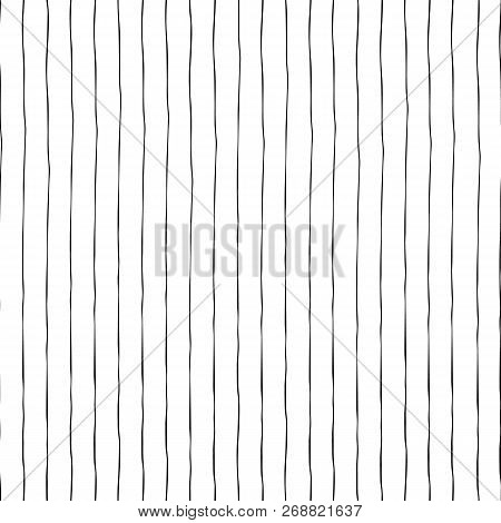 Black Thin Vertical Hand Drawn Stripes On White Seamless Vector Background Texture. Hand Drawn Doodl
