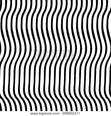 Vertical Irregular Wavy Lines Black And White. Vector Seamless Pattern. Optical Illusion. Perfect Fo