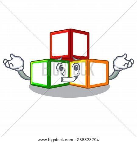Grinning Toy Blocks Cube Blank Cartoon Wooden
