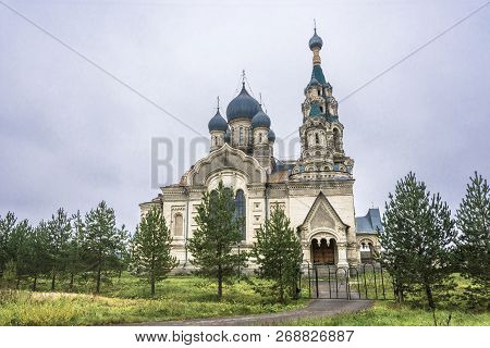 Spassky Cathedral In The Village Of Kukoboy On An Overcast Day, Russia.