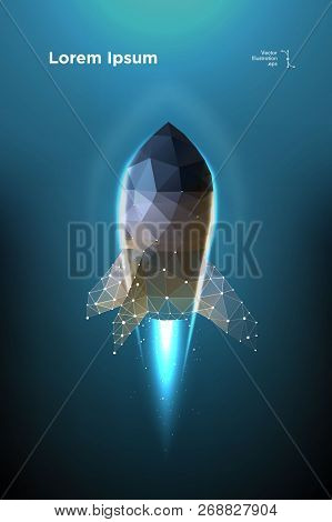 Rocket. Start Spaceship. Takeoff Spacecraft. Illustration Is Executed In The Form Of Particles, Geom