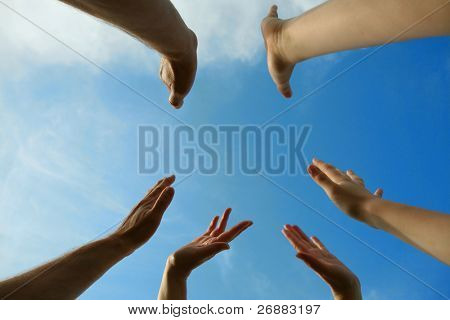 sky and hands