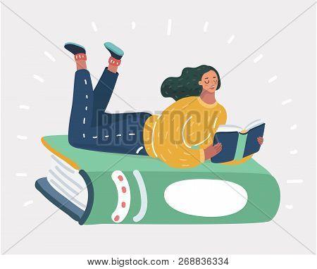Vector Cartoon Illustration Of A Girl Lying On A Big Green Book.