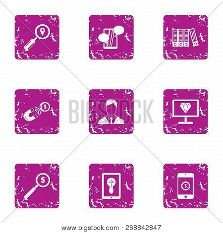 Foreign Currency Icons Set. Grunge Set Of 9 Foreign Currency Vector Icons For Web Isolated On White