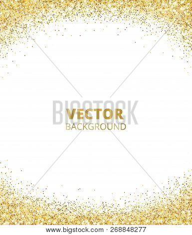 Sparkling Glitter Border, Frame. Falling Golden Dust Isolated On White Background. Vector Gold Glitt