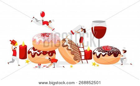 Vector Flat Design Of People Who Cook Donuts For Happy Hanukkah With Lettering For Greeting Card/pos