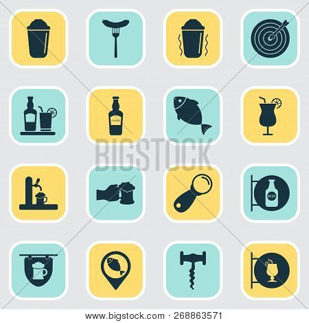 Beverages Icons Set With Fish, Elite Rum, Corkscrew And Other Beer Spilling Elements. Isolated Vecto