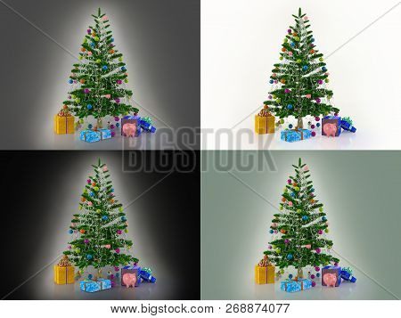 Set Of Templates For New Year Cards In Different Colors. Decorated With Multicolored Balls And Toys