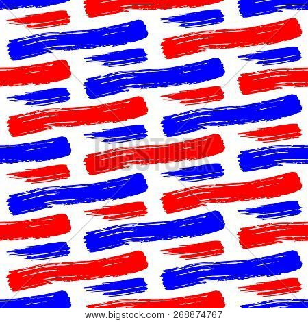 Vector Seamless Pattern With Careless Strokes Of Horizontal Lines. Abstract Background Made Using Of