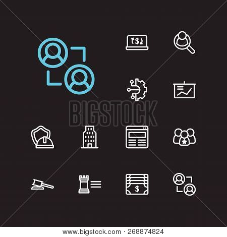 Trade Icons Set. Ecommerce And Trade Icons With Leadership, Powerpoint Presentation And Law. Set Of