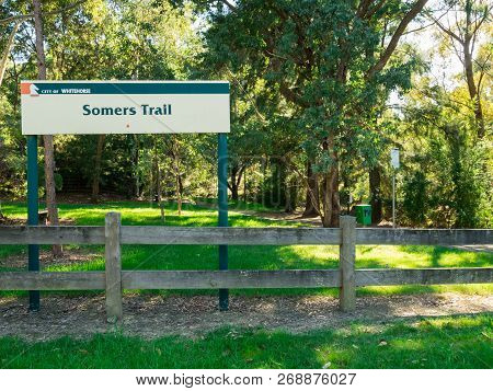 Melbourne, Australia - April 8, 2017: Somers Trail Is A Suburban Linear Park In Mitcham, In The City