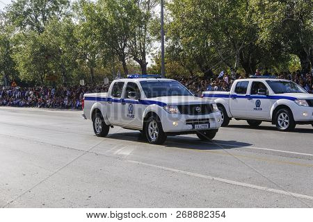 Thessaloniki, Greece - October 28 2018: Hellenic Police Pick Up Cars During Oxi Day Parade. Greek Po
