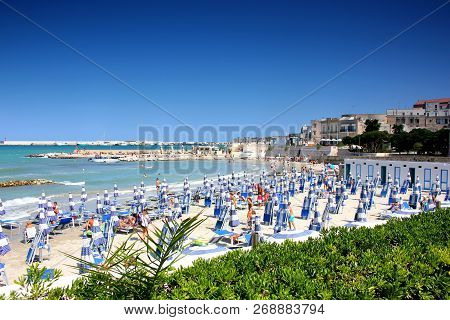 Otranto, Italy -august 28, 2018: Beautiful Town Of Otranto And Its Beach On Salento Peninsula In Pug
