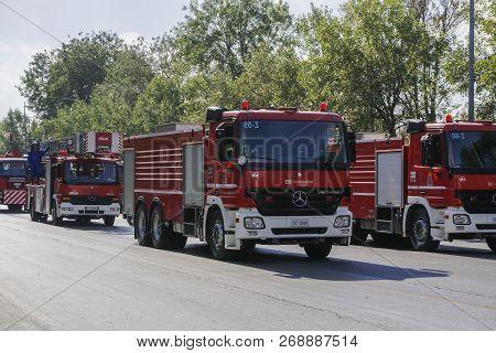 Thessaloniki, Greece - October 28 2018: Greek Fire Service Trucks During Oxi Day Parade. Hellenic Fi