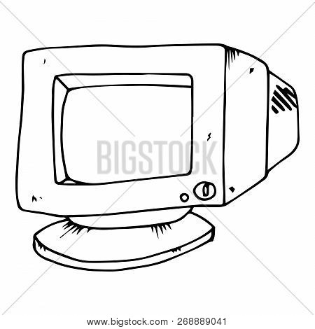 Old Computer Monitor. Crt Monitor. Vector Illustration.