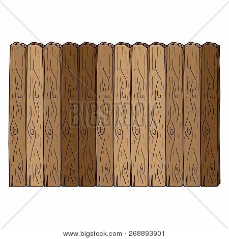 Wooden Fence Icon. Vector Of A Fence Made Of Wooden Planks. Hand Drawn Board Of Wooden Planks.