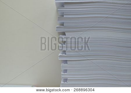 Pile Of Unfinished Documents On Office Desk Folders. Business Papers Or Document Is Written. Busines
