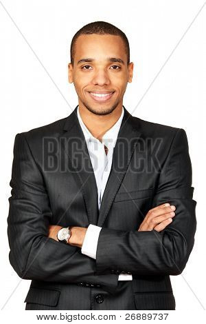Portrait of a happy African-American young businessman isolated over white background