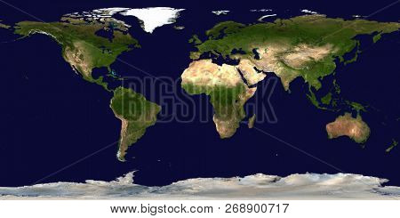 World's map. Satellite view. 3D rendering