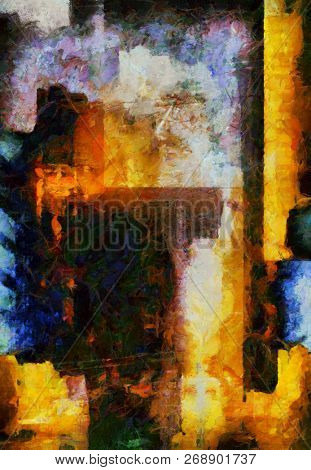 Abstract oil painting. Downtown. 3D rendering