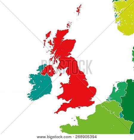 Brexit Map Of United Kingdom. Vector Illustration Template For Wall Art And Marketing In Square Form