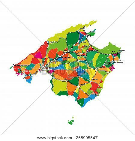 Colorful Map Of Majorca. Vector Illustration Template For Wall Art And Marketing In Square Format.