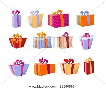 Vector Set Of Different Colorful Gift Boxes. Beautiful Present Box With Overwhelming Bow. Christmas