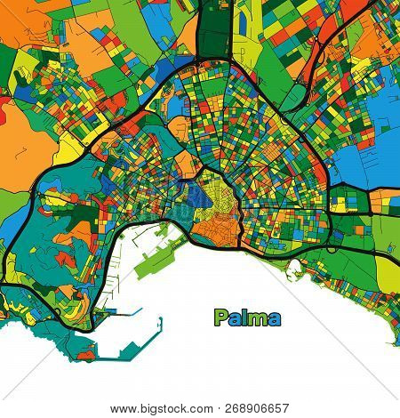 Colorful Street Map Of Palma. Vector Illustration Template For Wall Art And Marketing In Square Form