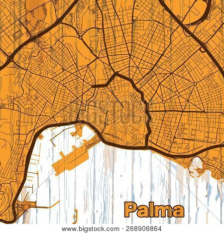 Vintage Map Of Palma. Vector Illustration Template For Wall Art And Marketing In Square Format.