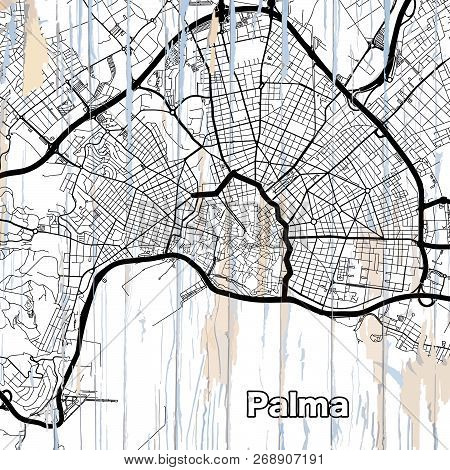 Street Map Of Palma. Vector Illustration Template For Wall Art And Marketing In Square Format.