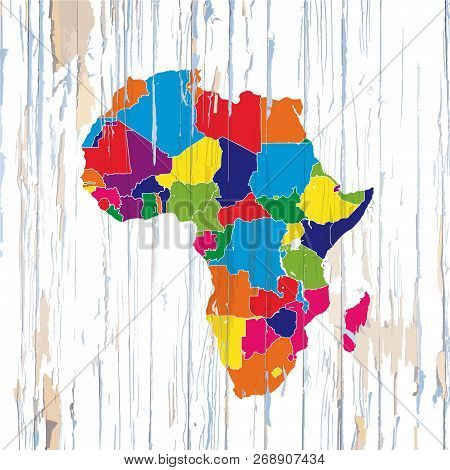 Colorful Map Of African Coutries. Vector Illustration Template For Wall Art And Marketing In Square