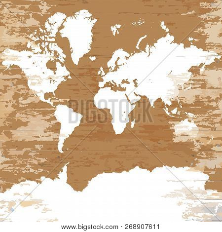 Vintage World Map. Vector Illustration Template For Wall Art And Marketing In Square Format.