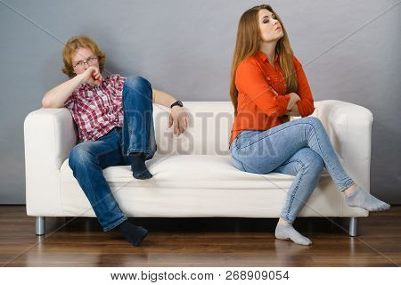 Man And Woman Being Mad, Ignoring Each Other After Fight. Friendship, Couple Breakup Difficulties An