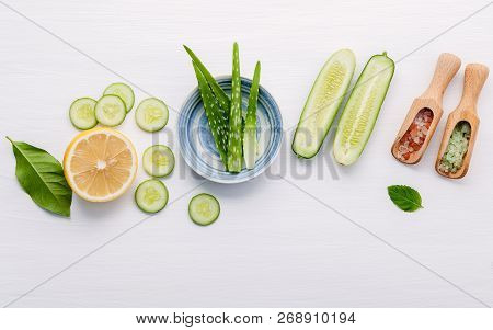 Natural Herbal Skin Care Products. Top View Ingredients Cucumber ,aloe Vera ,lemon And Himalayan Sal