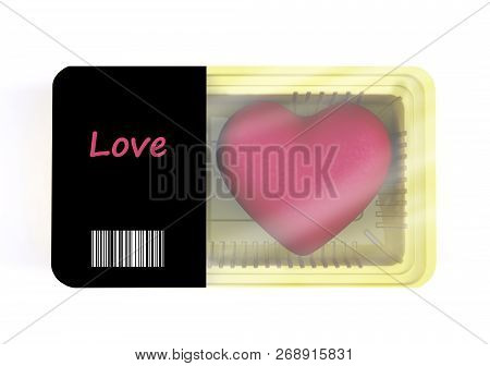 Food Packaging With Heart Cartoon Inside, 3d Illustration