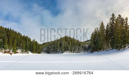 Panorama Of Beautiful Winter Scenery In Mountains. Frozen Lake Cowered With Snow. Spruce Trees On Th