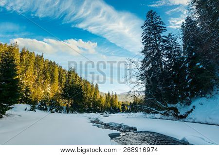 Frozen Mountain River Among The Forest In Winter. Spruce Trees And Riverbank Covered With Snow. Gorg