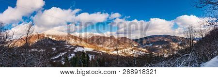 Winter Panorama Of Uzhanian National Nature Park. Forested Mountains With Snowy Tops On A Sunny Day