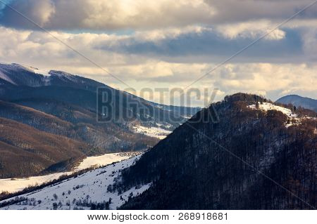 Beautiful Winter Scenery Of Carpathian Mountains On A Cloudy Day