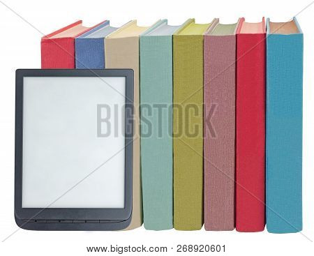 Electronic Book Reader And Book On White Background