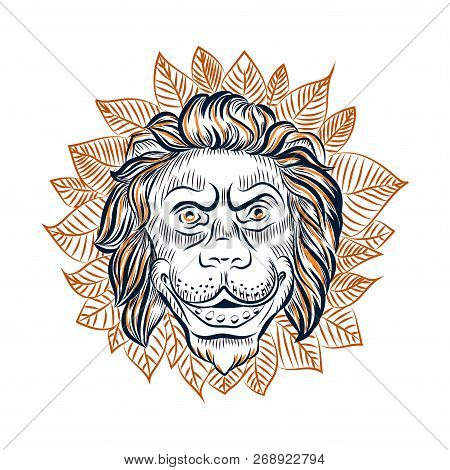 Lion Head Surrounded Vector Photo Free Trial Bigstock Lion face african map tattoo   fresh 2017 tattoos ideas. lion head surrounded vector photo