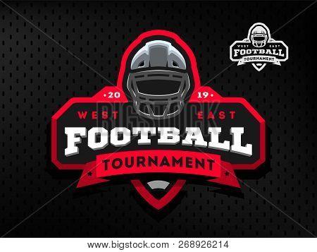 American Football Tournament Emblem, Logo On A Dark Background.