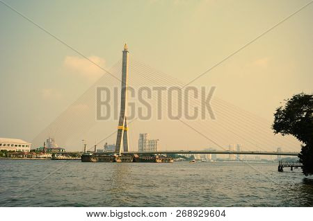 Rama Viii Bridge And Chao Phraya River, Bangkok, Thailand