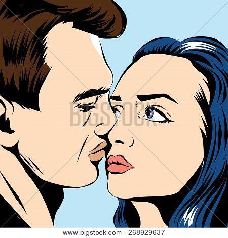 Kissing Couple Pop Art Style Vector Illustration.
