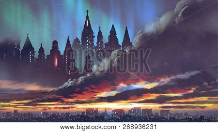 Sunset Scenery Of The Dark Castles On Black Clouds Above The City, Digital Art Style, Illustration P