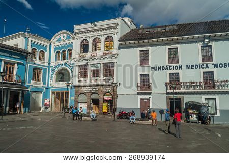 Quito, Ecuador - June 23, 2015: Old Buildings On Plaza Del Teatro Square In Quito