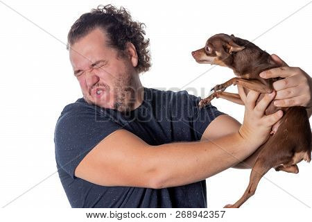 Funny Fat Man Poses With Little Dog