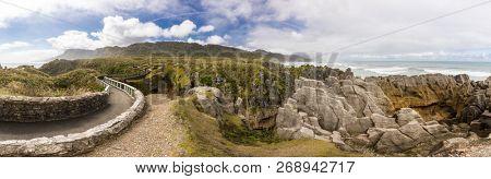 Punakaiki Pancake Rocks with blowholes in the Paparoa National Park, South Island, New Zealand