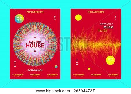 Electronic Festival Music Flyer. Sound Poster With Wave Lines And Round For Dj Promotion. Movement A
